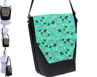 Backpack Convertible Bag - Shoulder Bag - Cross Body Purse - iPad Purse -3 in 1 bag- REMOVABLE FLAP - Borsa Bella - Hedgehog Fabric