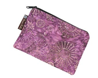 Catch All Bag holds chargers - cords - make up - collections - hard drives - FAST SHIPPING - Wine Batik Fabric