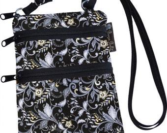 Crossbody Purse - 3 Zippered Pockets Bag - Small Cross body zippered pocket Purse Bag -Fast Shipping - Small Phone Purse Fabric
