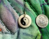 Tibetan Tribal White Buffalo Bone Yin Yang Coin Charm Pendant
