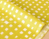 Japanese Fabric - painted gingham double gauze - yellow - 50cm