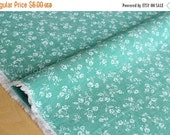 Japanese Fabric - chambray floral  - green - 50cm