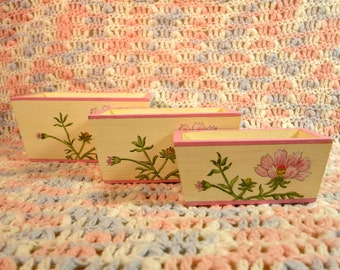 Set Of Three Containers With Pink Flowers, Three Floral Boxes, Painted Floral Boxes, Boxes With Flowers, Set Of Wood Containers