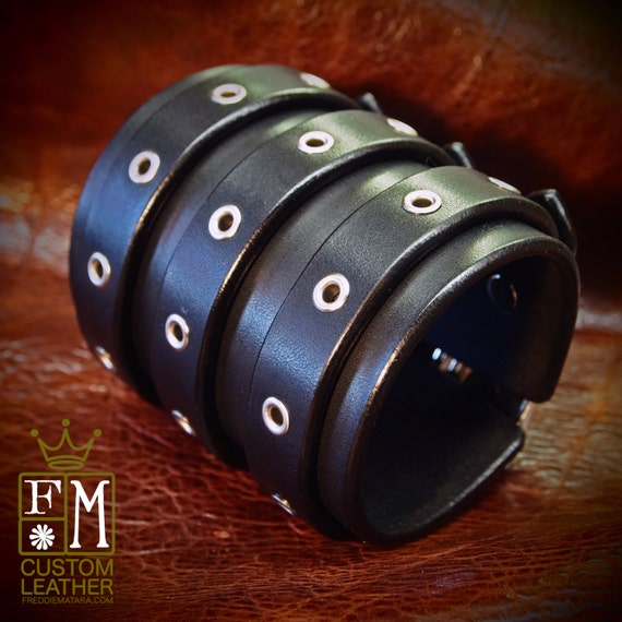 Black Leather Cuff wide Rocker style with eyelets Custom made for YOU in NYC by Freddie Matara