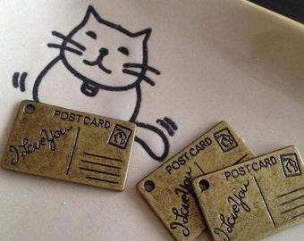 I LOVE YOU postcard CHARM 26x16mm antique brass - Code 195