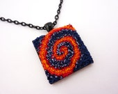 Embroidered Pendant - Fiery Spiral - Textile Square and Black Metal Pendant With Chain