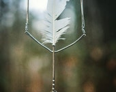 RESERVED Feather Vase Necklace No.4, White Dendritic Opal, Silver, White Chicken Feather from Sun Dog Farm 2014