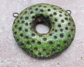 Rustic Green Donut Bead, Urban, Polka Dot, Crackle Glaze, Connector Bead, Faux Ceramic Bead