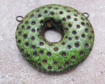 Rustic Green Donut Bead, Urban, Polka Dot, Crackle Glaze, Connector Bead, Faux Ceramic Bead