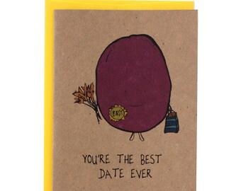 """Girlfriend/ Boyfriend/Anniversary """"Best Date Ever"""" Greeting Card"""