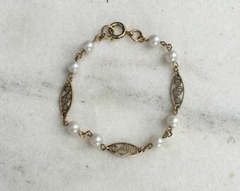 Vintage Link Bracelet, Gold Filled, Faux Pearls, 1960's