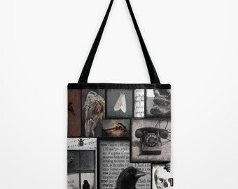 Gothic Collage Art Purse, Vintage Colors, Satchel, Market Tote, Eco-Friendly Shopping Bag, Crow Accessory - Gothic Fix Tote