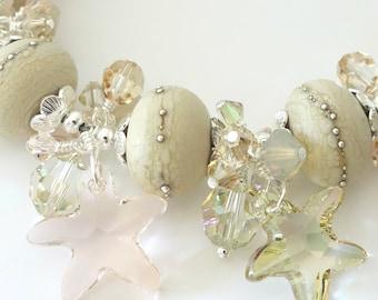 Lampwork Bracelet and Earrings, Two Piece Set, Silver Beach Jewelry, Crystal Starfish, Light Green, Peach, Ocean, Beaded Jewelry, OOAK