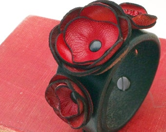Black Leather Cuff Bracelet with Oxblood  Red Leather Flowers, EcoFriendly, Wristband, Women, Teen Girl, Corsage, OOAK