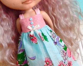 Handkerchief Dress for Blythe - Pink and Teal Floral