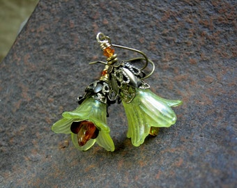 Golden Daffodil Earrings, Fairy Flowers, Faery Couture, Flower Fairies, Yellow Flower Earrings, Boho Chic, Fairy Costume, Elksong Jewelry