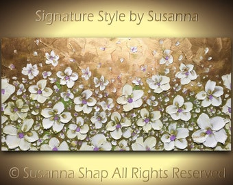 ORIGINAL Flower Painting Large Abstract Landscape Oil White Blossom Texture Art Palette Knife Original Painting on Canvas by Susanna
