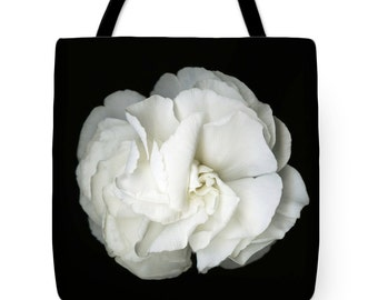 Designer Art Tote Bag - White Blossom Flower, contemporary designer fashion statement floral tote from Susanna's art