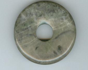45mm Green and Gray Lined Jasper Gemstone PI Donut Focal Pendant Doughnut 947M