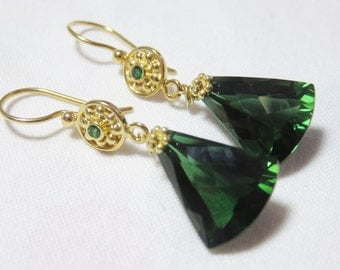 Green Amethyst Faceted Triangle Briolettes (16.25cts) with Green Chome Stone and Gold Earrings