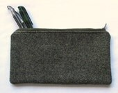 CLEARANCE wooly grey zipper pouch, small unisex travel or school bag