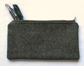 wooly grey zipper pouch, small unisex travel or school bag