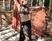 Semi Sheer Metallic Embroidered Silk Chiffon Gypsy Belly Dance Tabard Skirt by Louise Black
