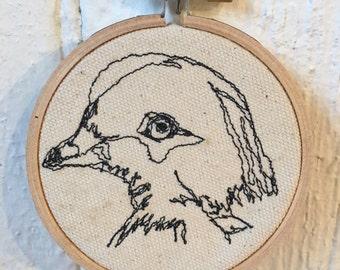 Red Billed Pigeon Freehand Machine Stitched Portrait