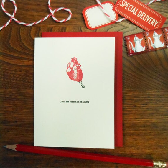 letterpress from the bottom of my heart greeting card perfect for thank you, sympathy, love