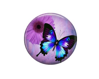 Purple Butterfly - Glass Image Cabochon - Choice of 12mm, 16mm, 20mm, 25mm and 30mm Round
