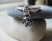 Flower Charm Ring, Fine Silver, Sterling Silver, Artisan Charm, Textured Ring, Stacking Ring, candies64