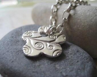 Charm Bracelet, Sterling Silver, Precious Metal, Fine Silver, PMC, Handmade Charm, Flower Charm, Textured Flower, Oval Rolo Chain