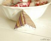 One Triangle Pin Cushion Pin Keep Ornament, Silk Stripe, Raw Silk, Vintage Cotton
