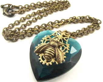 Bee Heart Zircon ...  Victorian Bee  Heart  Necklace  One of a Kind