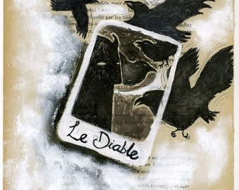 SALE Le Diable / original illustraton by Emma Kidd / gouache on book page