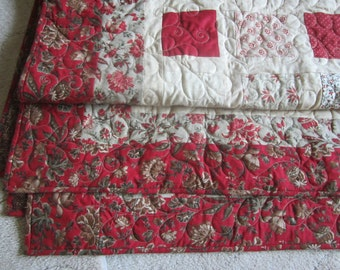 French Country Queen Quilt in Red, Gray, and Creams