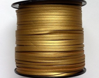 3mm Faux Suede Cord Leather Like (C94) Metallic Gold 15 feet 5 Yards PU Leather Boho Jewelry Bracelets Necklace Suede Lace USA Seller