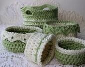 SALE 6 Patterns for 5.00 - Crochet Basket Patterns 6 Sizes - Ebook - Drop Over Lace Edge - Flower Edge - Large Basket w Handles -  EBOOK 1
