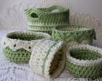 Crochet Basket Patterns 6 Sizes - Ebook - Drop Over Lace Edge - Flower Edge - Large Basket w Handles -  EBOOK 1