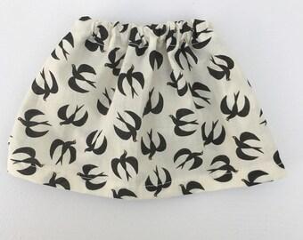doll skirt with bird print