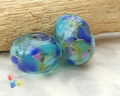 Lampwork Beads Cool Hydrangea Pair