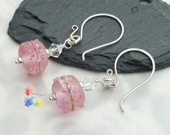 Earrings with Lampwork Rose Petal Confetti Beads, Sterling Silver Earrings, Wedding Earrings, Pink Earrings