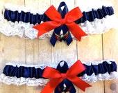 SUMMER SALE Handmade Lace Wedding Garter Set Washington Capitals keepsake and toss NRNG