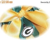 SALE 10% OFF Handmade Wedding Garter with Green Bay Packers charm Keepsake Satin GF