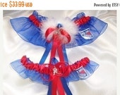 SALE 10% OFF NY Rangers Inspired Wedding Garter Set with Marabou Pouf