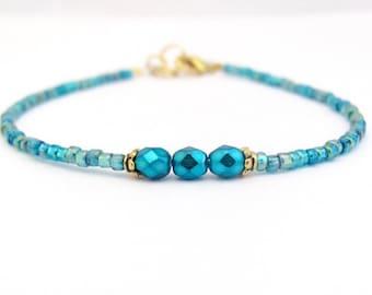 Turquoise Bracelet, Seed Bead Bracelet, Friendship Bracelet, Beaded Braceled, Delicate Petite, Zen Bracelet, Gift for Friend, Beaded Jewelry