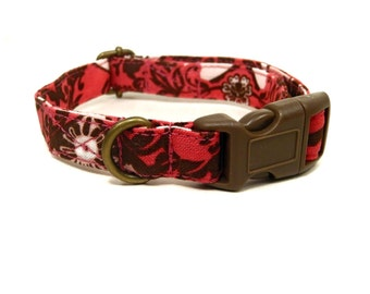The Romantic - Salmon Pink Chocolate Brown Damask Hearts Girl Valentine Organic Cotton CAT Collar - All Antique Brass Hardware
