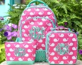 Gift Set of 3 - Monogrammed Backpack, Lunchbox and Pencil Pouch in Pink Whales Pattern, Kindergarten matching bookbag set for girls
