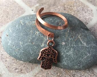 Copper Ring * Adjustable Square  Ring * Wire Dangle Ring * Hamsa Charm