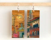 Pearl City, Paper & Wood Earrings, 1x2.25""
